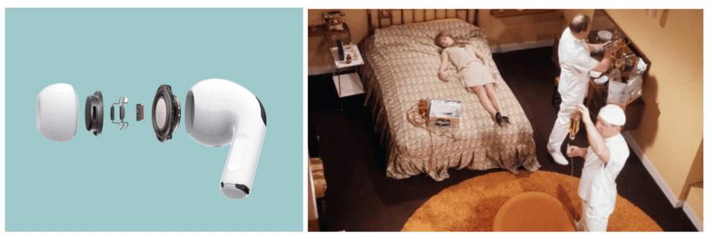 Science fiction and technology: Ear bud parts vs thimble radios